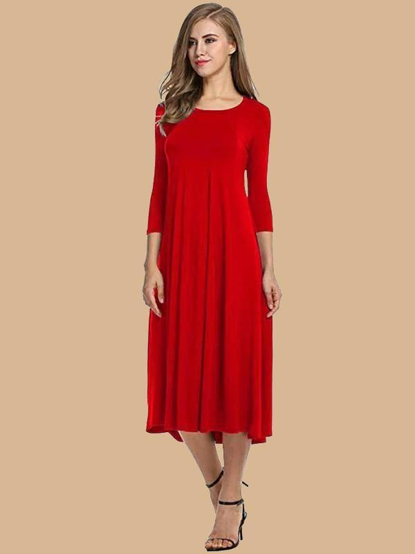 New Fashion Casual Round Neck Solid Color Maxi Dress