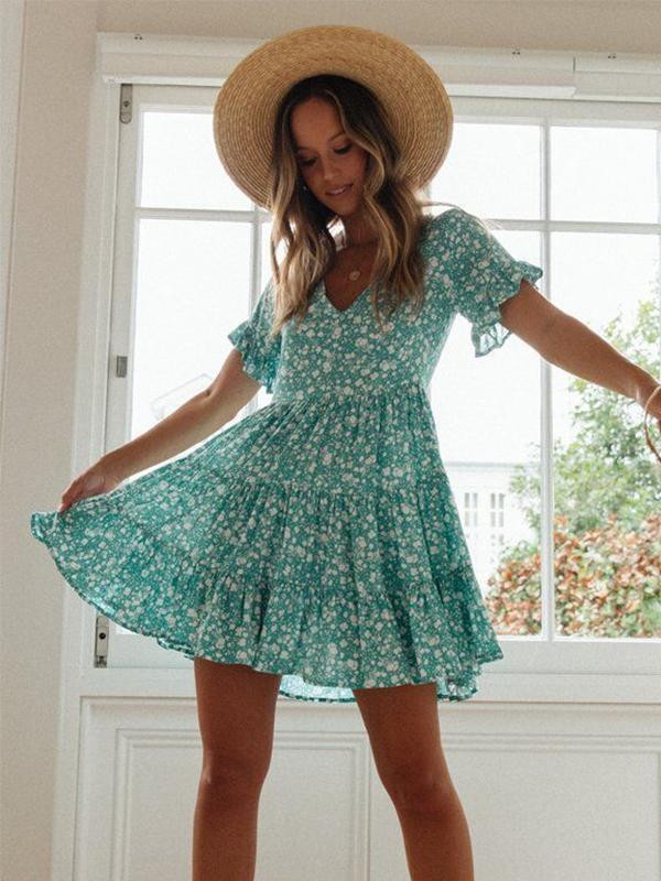 New Fashion Retro Print V-neck Lace-up Short-sleeved Sexy Dress