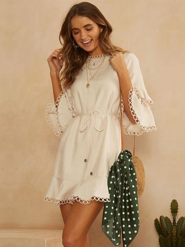 New Fashion Solid Color Women Casual Vacation Dress