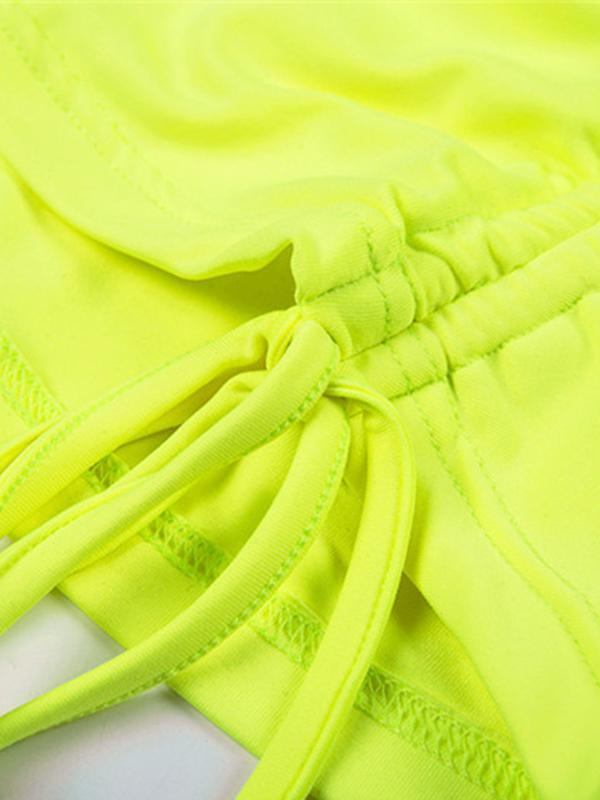 New fluorescent green drawstring sexy bag hip strap bodycon dress