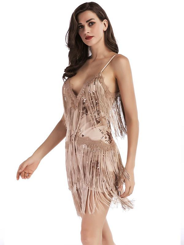 New Fringed Embroidered Sequins Sexy Backless Deep V-neck Dress