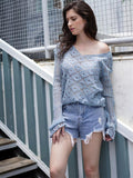 New Hollow Solid Color Fashion Lightweight Loose V-neck Sweater