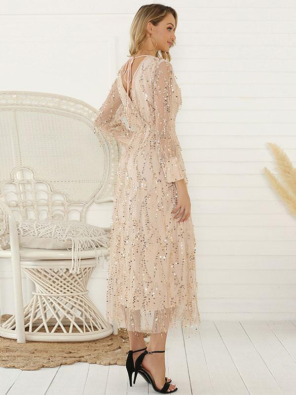 New Long-sleeved Tassel Sequin Ladies Long Dress