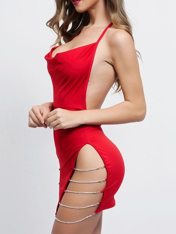 New Open Back Bow Tie With Split Openwork Hip Strap Dress