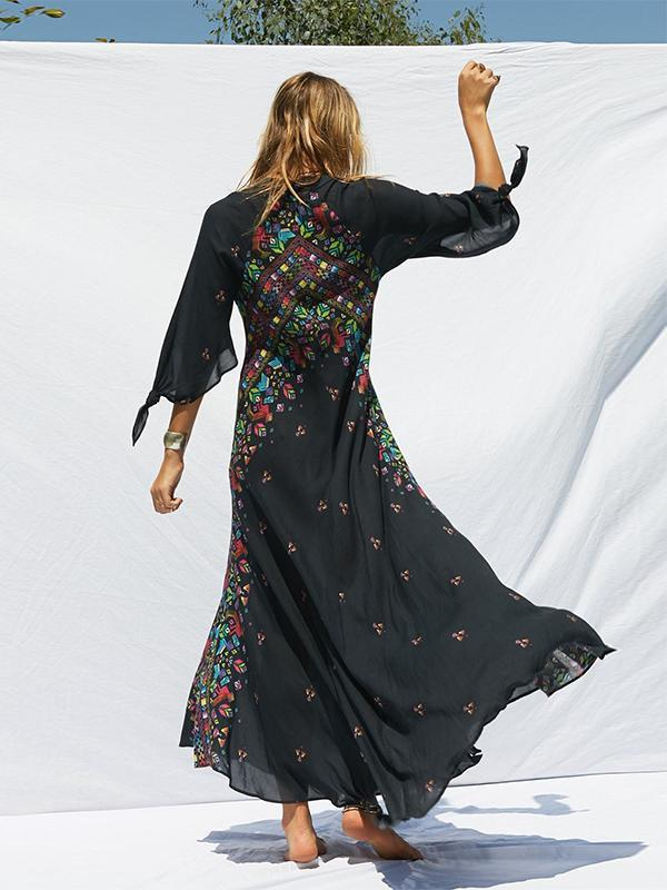 New Positioning Print Vacation Bohemian V-neck Cropped Sleeve Dress