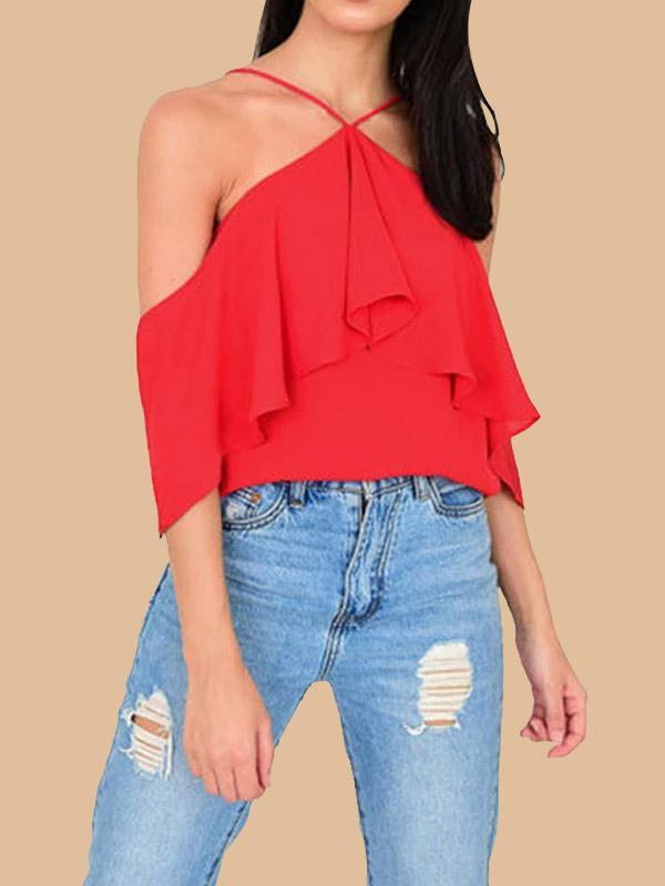 New Sexy Strapless Straps Chiffon Shirt Top For Women