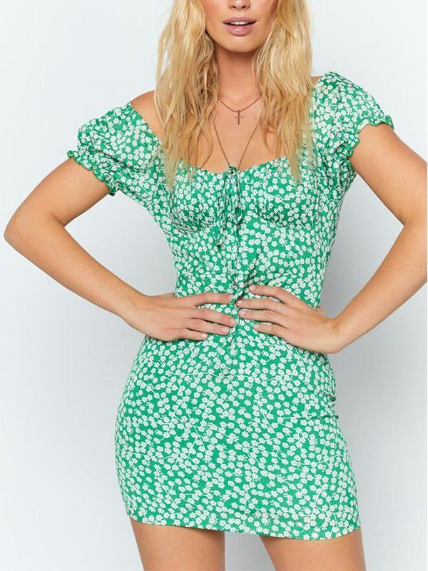 New Short Sleeve Square Collar Green Floral Print Slim Bodycon Dress