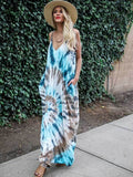 New Women Casual Sling V-neck Print Long Dress