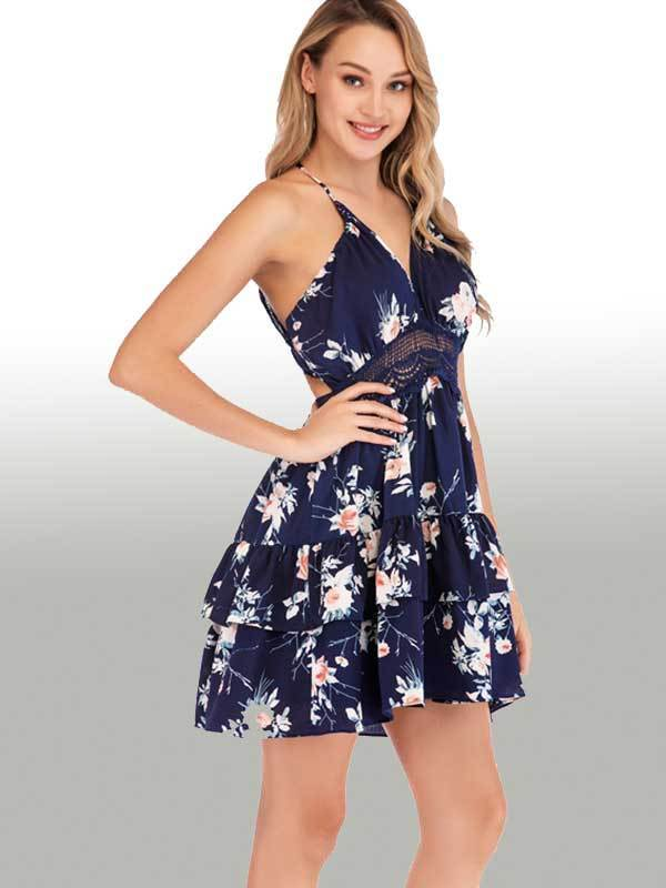 New Women Deep V-neck Openback Floral Print Dress