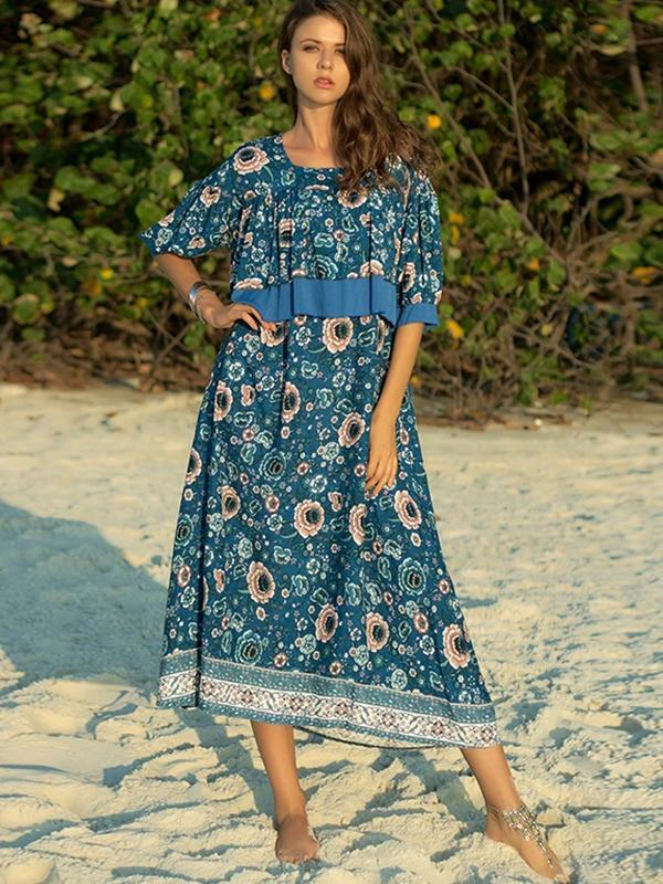 New Women Fashion Casual Bohemian Floral Print Dress
