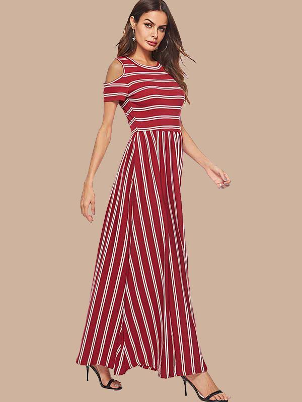 New Women Fashion Casual Stripe Round Neck Maxi Dress