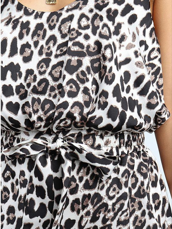 New Women Sexy Casual Round Neck Sling Leopard Print Dress