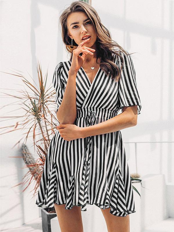 New Women Summer V-neck Printed Stripe Tied Short-sleeved Dress