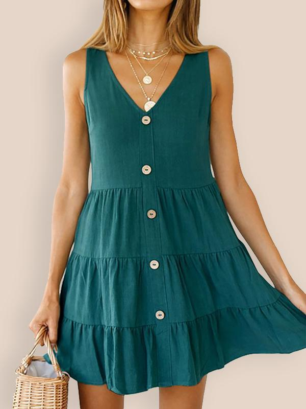 New Women V-neck Sleeveless Solid Color Fashion Mini Dress