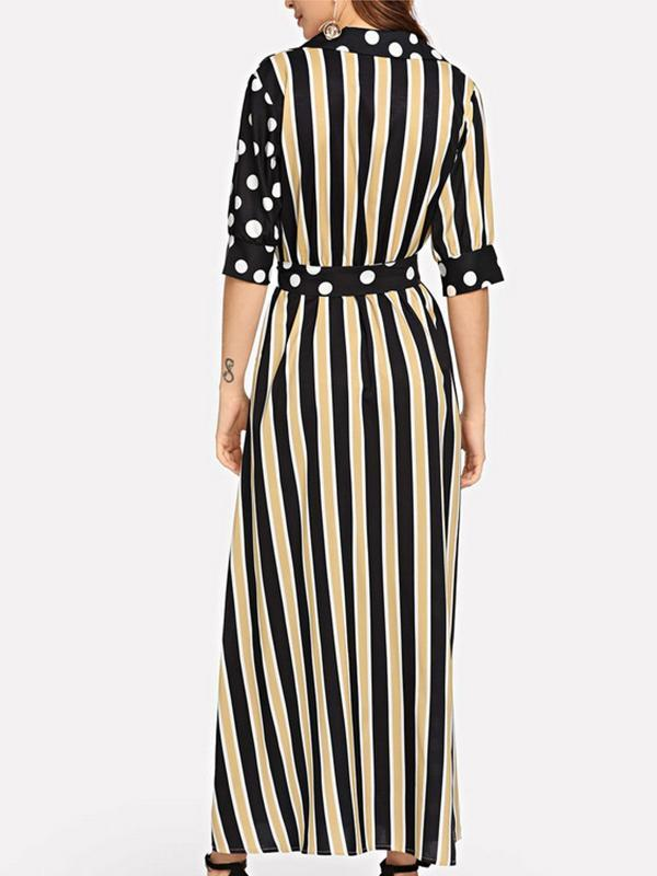 New Women V-neck Stripe Lace-up Split Maxi Dress