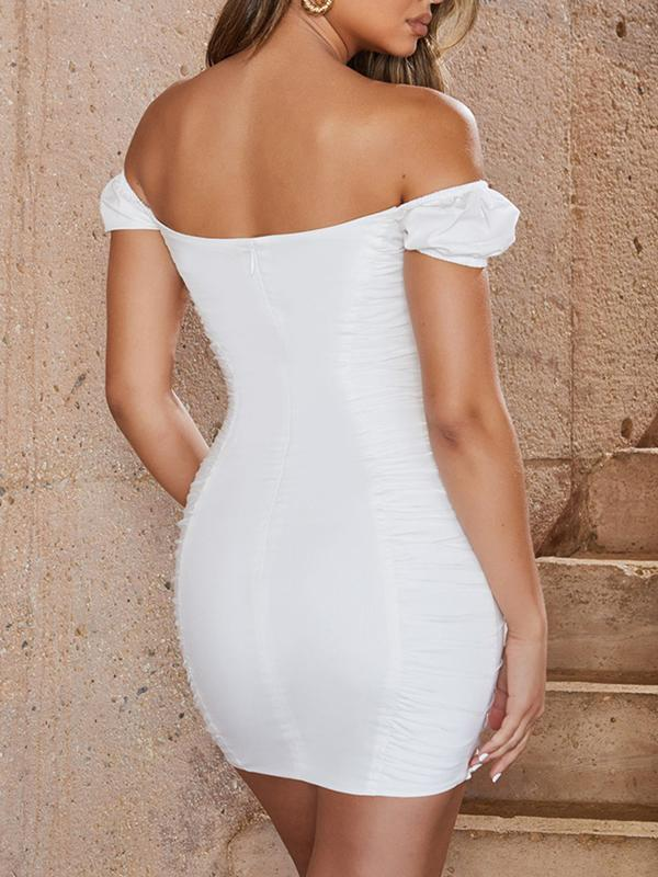 off the shoulder boat neck sexy bodycon dress