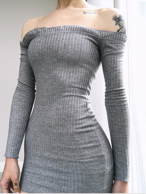 Off the shoulder long sleeve sexy bodycon sweater dresses for autumn
