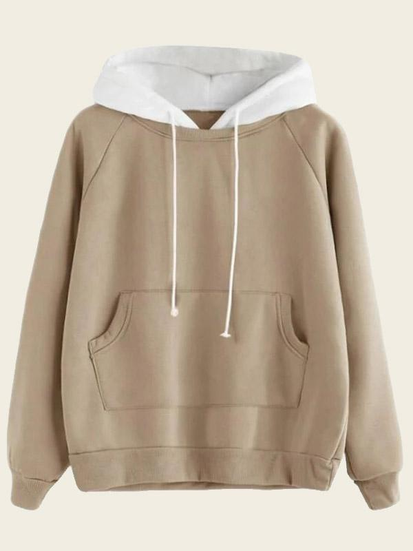 pocket in front drawstring hooded sweatshirt