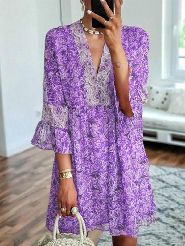 Printed Lotus Leaf Flared Seven-point Sleeve Chiffon Floral Dress