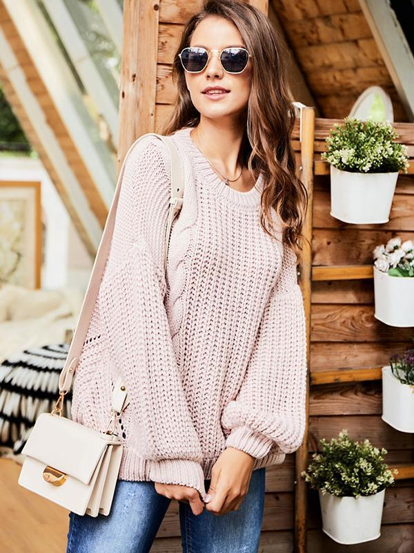 Round neck long sleeve cable knit sweater