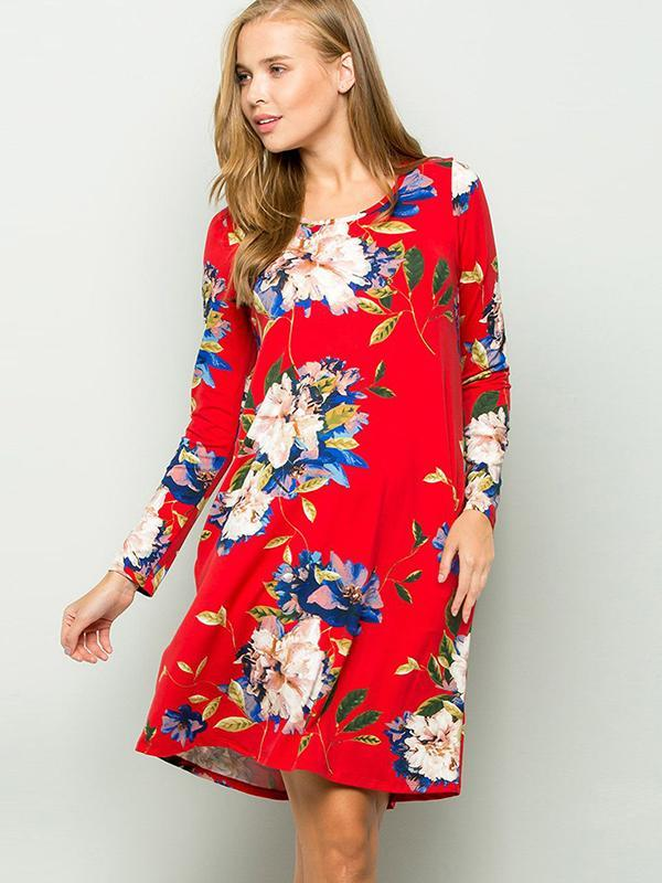 round neck long sleeve floral dresses