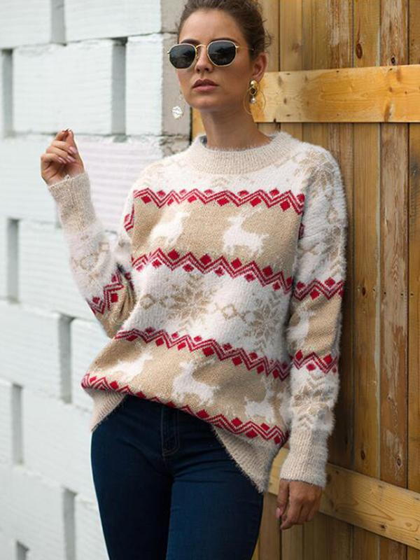 Round Neck Long Sleeve Knit Christmas Pullover Sweater Tops