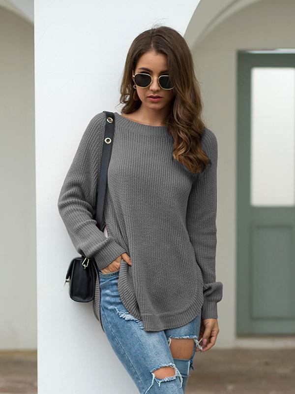 Round Neck Long Sleeve Knit Pullover Sweater Tops