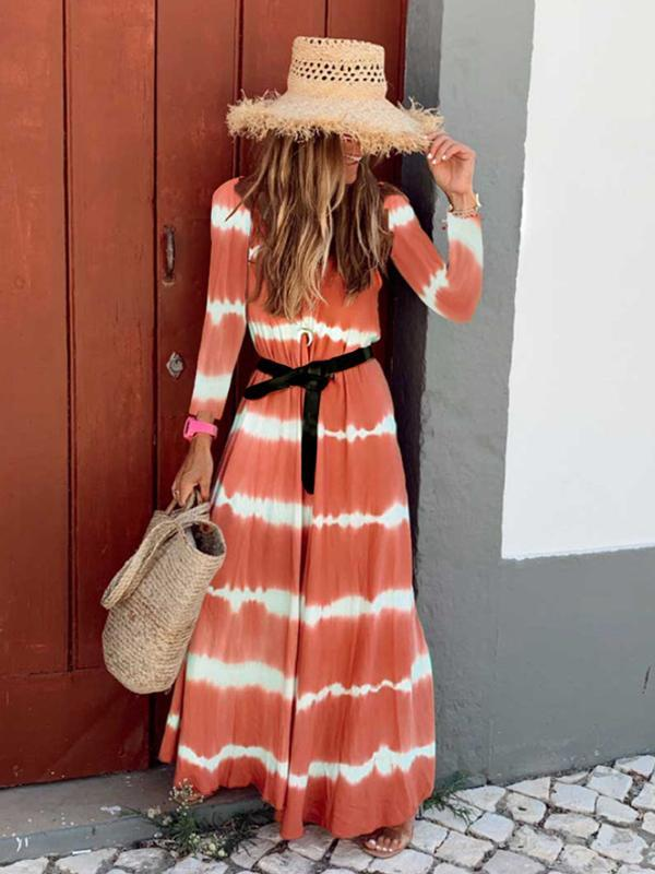 Round Neck Long Sleeve Stripe Dresses