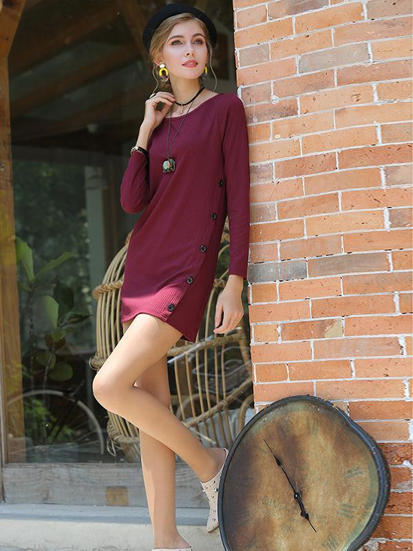 Round Neck Long Sleeve Women's Sweater Dress