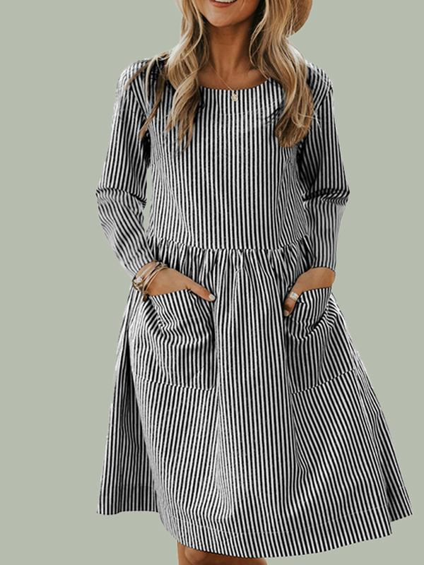 round neck striped dresses with pocket in front