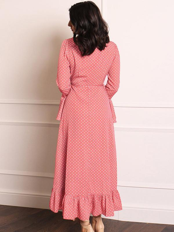scallop trim polka dot dresses for autumn