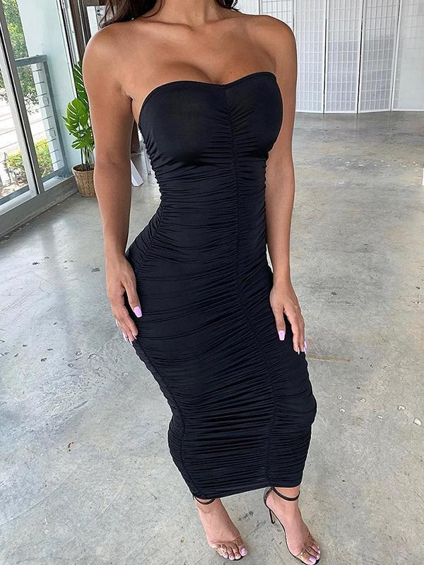 sexy bodycon pleated tube dress