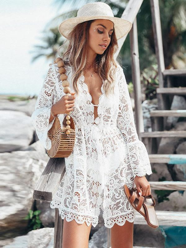 sexy deep v neck long sleeve lace dress
