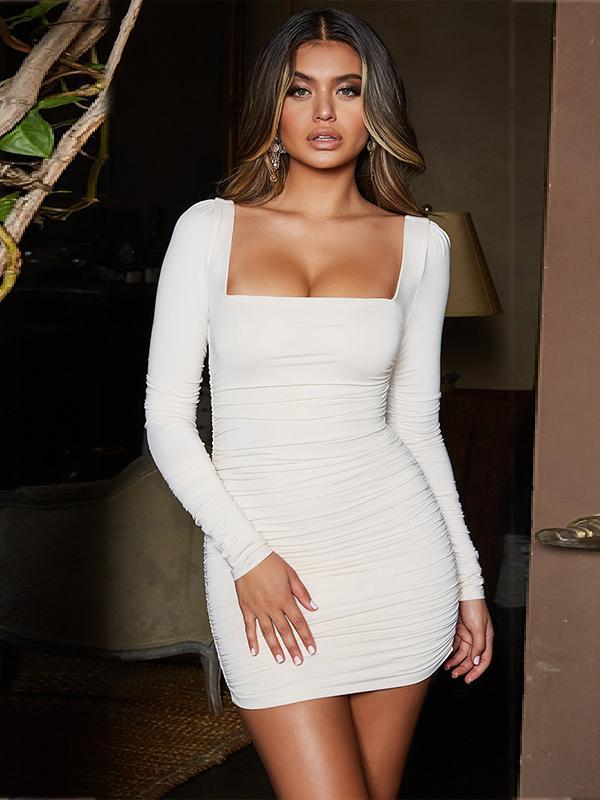 sexy long sleeve pleated bodycon dress