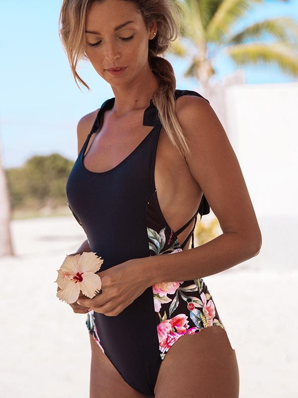 Sexy Women Floral One Piece Swimsuit