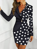 Slim-fit Contrast Button Professional Dress