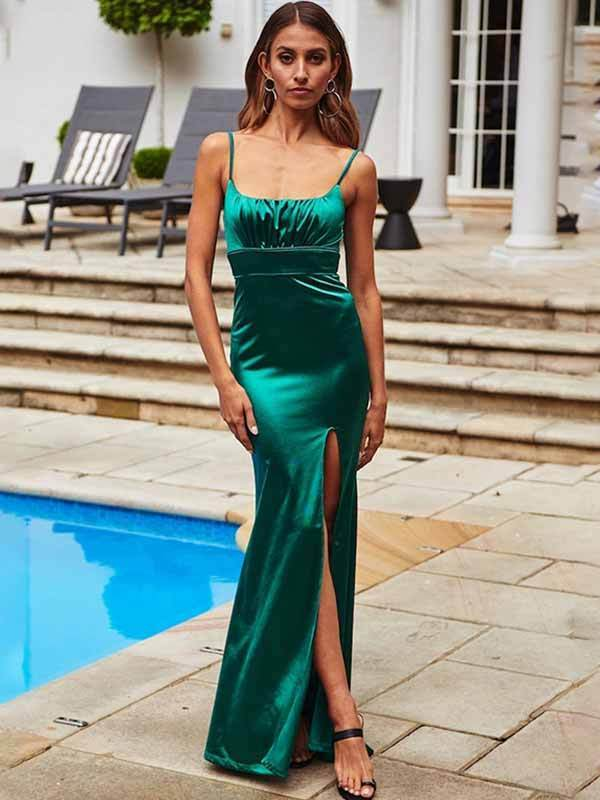 Sling Dress With Split Sexy Fishtail Dress