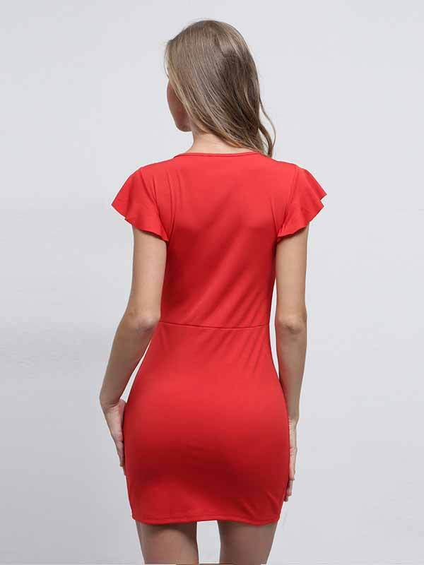 Solid Color Bow Wrapped Chest Empty Umbilical Package Hip Dress Female