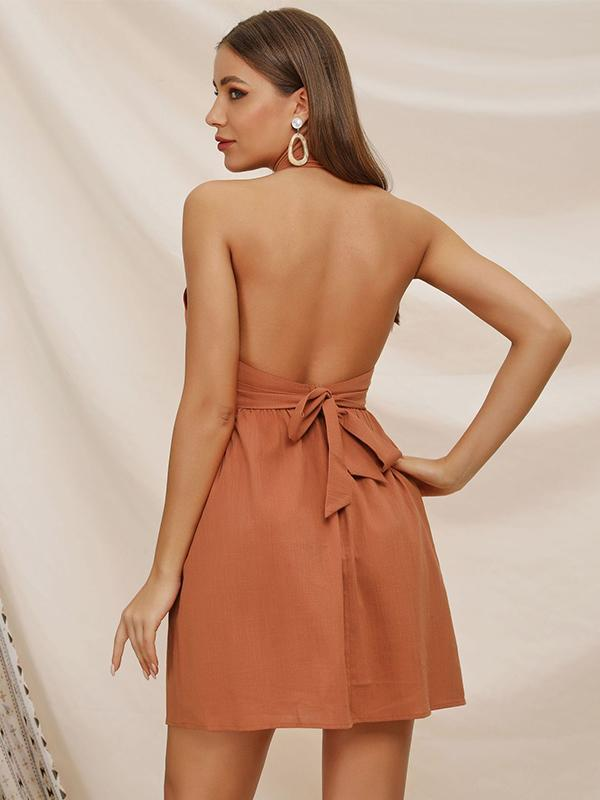 Solid Color Fashion V-neck Backless Casual Dress For Women