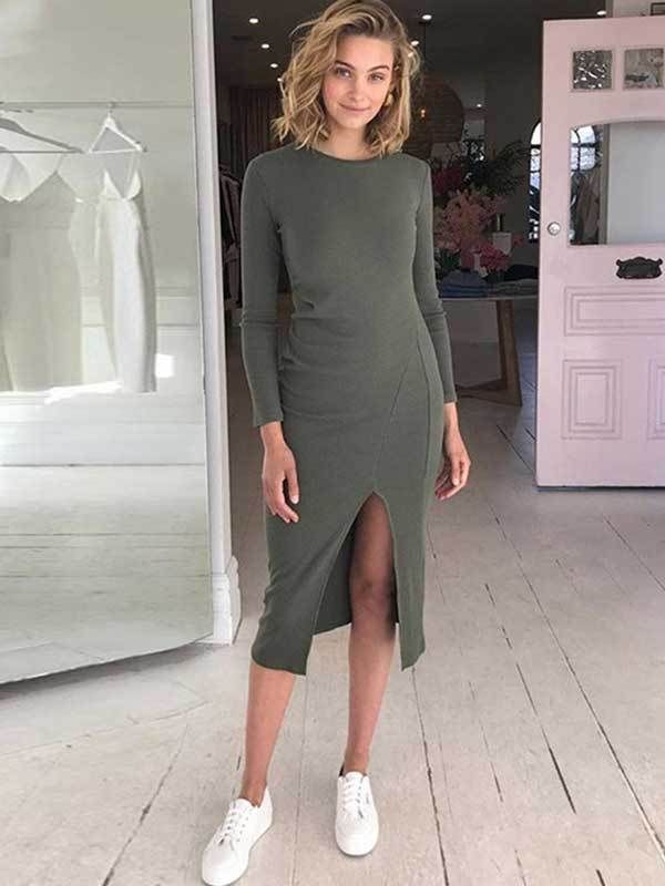 Solid Color Round Neck Long-sleeved Slim Split Bodycon Dress