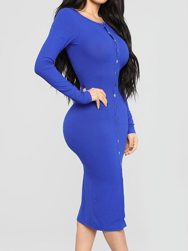 Solid color sexy bodycon sweater dress