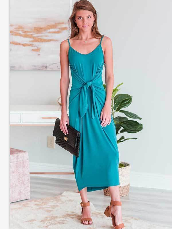 Solid Color Sleeveless Open Back Slim Women Midi Dress