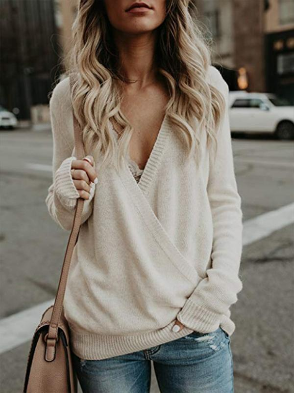 solid color V neck knit top for women