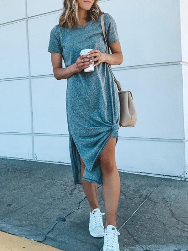 Solid Color Women Short Sleeve Round Neck Casual Maxi Dress