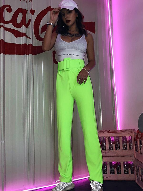 Solid slim stretch pants with wide belt