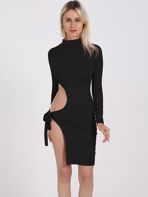 Solid Split Thigh sexy bodycon Dress