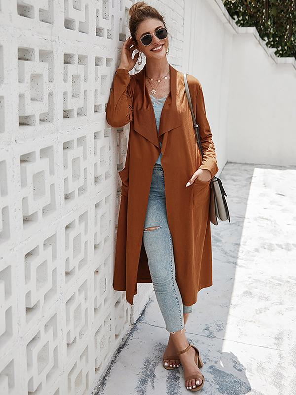 Solid Waterfall Longline Trench Coat