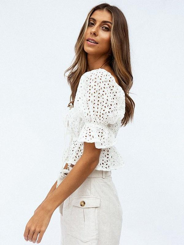 Square Collar Hollow-out White Blouse