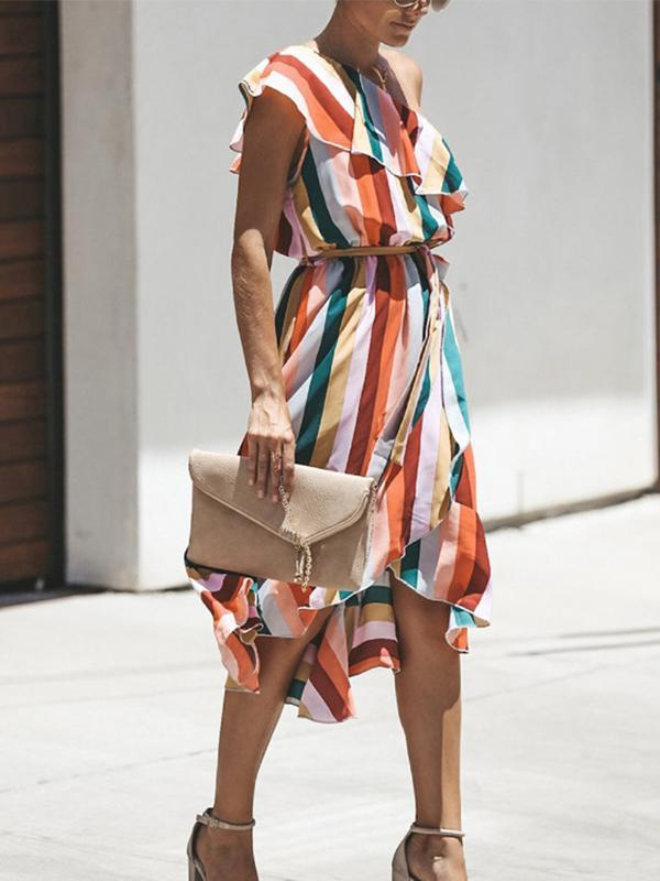 Striped Slanted Shoulder Irregular Midi Dress For Women