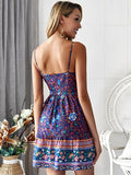 Summer Fashion Deep V-neck Sling Backless Short Dress